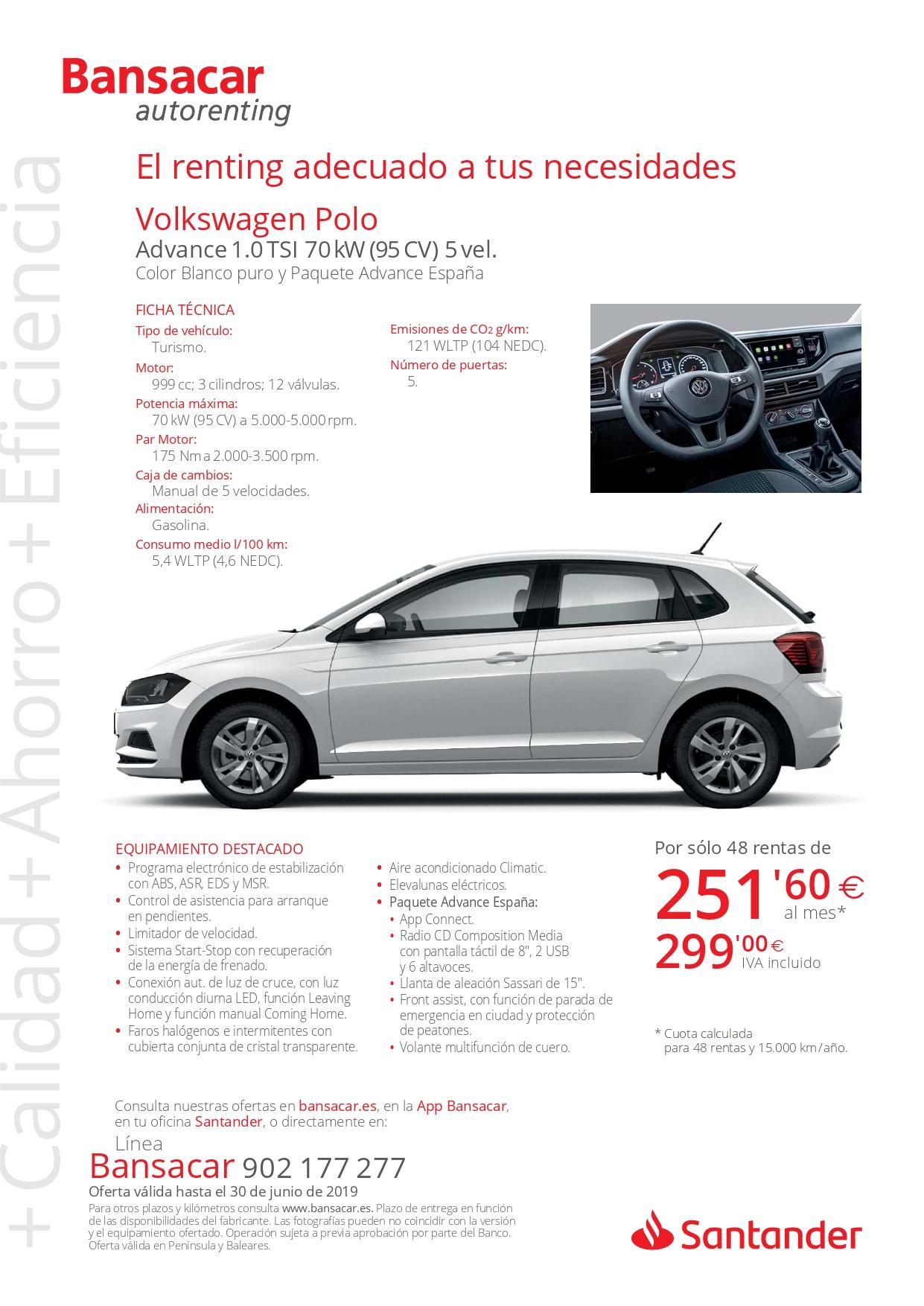 BOCETO PDF Campaña Bansacar VOLKSWAGEN POLO Advance 1.0TSI 95CV 5vel. Pi... page 0002 - Ofertas